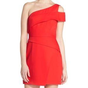 BCBG red one shoulder dress